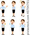 在夏季辦公室工作,有六種手勢和表情 40704701