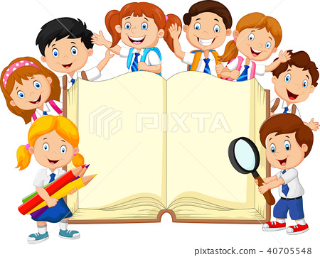 Smiley little kids holding book on isolated backgr 40705548