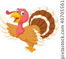 Happy animal turkey waving on white background  40705561