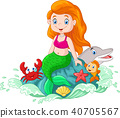 Beautiful mermaid sitting on the rock in the sea w 40705567