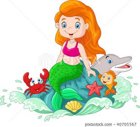 Beautiful mermaid sitting on the rock in the sea w 40705567