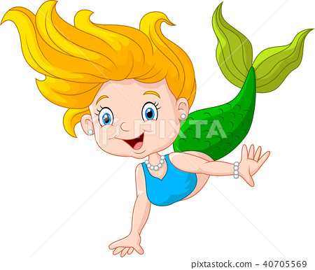 Beautiful mermaid girl on white background  40705569