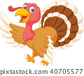 Thanksgiving turkey animal mascot gesturing on whi 40705577
