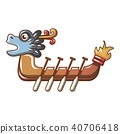 Dragon boat icon, cartoon style 40706418