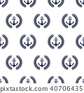 Seamless patterns with anchor and laurel wreath 40706435