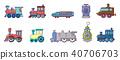 Train icon set, cartoon style 40706703