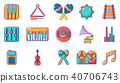Musical instrument icon set, cartoon style 40706743