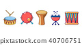 Drums icon set, cartoon style 40706751