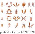 Wheat icon set, cartoon style 40706870