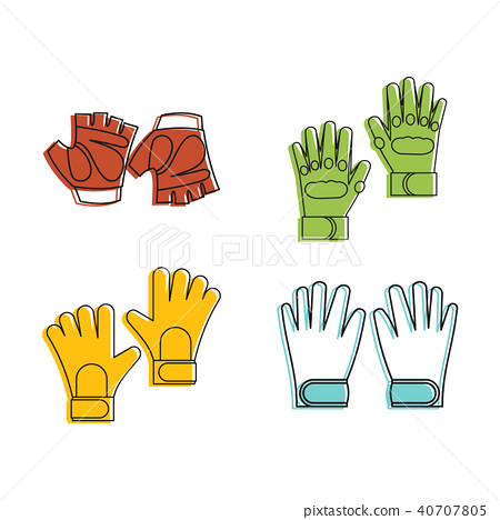 Fitness gloves icon set, color outline style 40707805