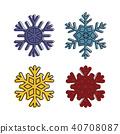 Snowflake icon set, color outline style 40708087