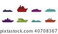 Cruiser icon set, color outline style 40708367
