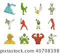 Sportsmen icon set, color outline style 40708398