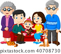 Big family with grandparents, parents and children 40708730