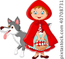 Cartoon fairy princess with robe and cute wolf 40708731