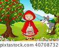 Happy fairy princess robe with wolf in the jungle  40708732