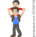 Father giving his son piggyback ride. isolated on  40708738