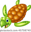 Adorable sea turtle. isolated on white background 40708740