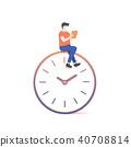 the man reading on clock illustration vector 40708814