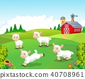 Cute cartoon sheep collection set in with farm bac 40708961
