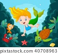 Little Mermaid Swimming Underwater with sea animal 40708963