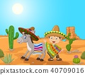 Cartoon Mexican boy with donkey in the desert back 40709016