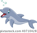 Cute cartoon dolphin with bubbles isolated on whit 40710428