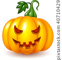Cartoon Halloween pumpkin isolated on white backgr 40710429