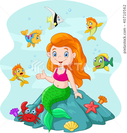 Happy little mermaid sitting on the rock surrounde 40710562
