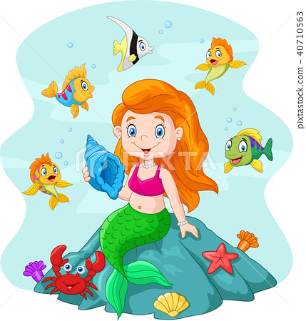 Happy little mermaid sitting on the rock surrounde 40710563