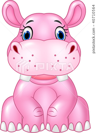 Cartoon baby hippo sitting isolated on white backg 40710564