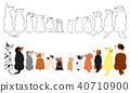 สุนัขหลายตัวตั้งฉาก 2 มองขึ้นด้านข้าง 40710900