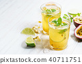 passion fruit with lime and mint leaves 40711751