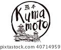 คุมาโมโตะคุมาโมโตะคุมาโมโตะปราสาทแปรงตัวละครสีน้ำ 40714959