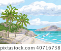 Tropical Background  with Sea Coast and Palm Trees 40716738