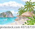 Tropical  Beach with  Parasol and Palm Trees 40716739