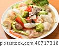 อาหารทะเลผัดผักและอาหารจีน 40717318