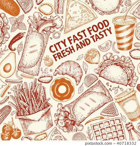 Fast Food Hand Drawn Vector Illustrations Street Food Banner Design