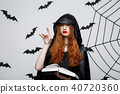 Halloween Concept - Beautiful dark priest casting spell with magic book on grey background. 40720360