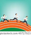 Business people race on track field Athletics 40727023