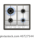 Realistic Detailed 3d Gas Stove. Vector 40727544