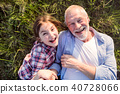 A small girl with grandfather outside in spring nature, relaxing on the grass. 40728066