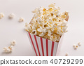 Bucket of popcorn on white background 40729299