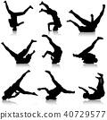 Set Black Silhouettes breakdancer white background 40729577