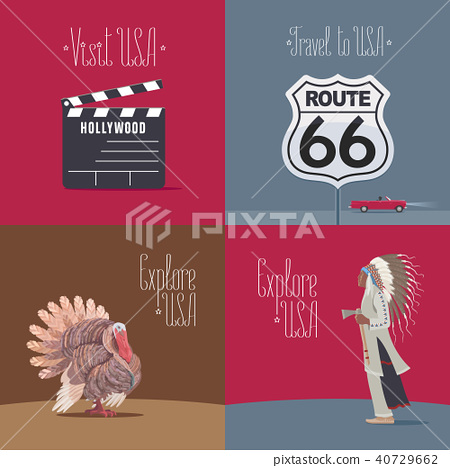 Set of vector illustrations with USA symbols 40729662