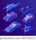 Vector 3d isometric urban transportation with headlights 40730222