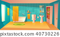 Vector bathroom interior, room with furniture, bathtub 40730226
