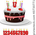 Birthday cake with candles anniversary 40730771