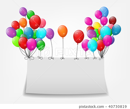 Flying balloons with paper and place for text 40730819