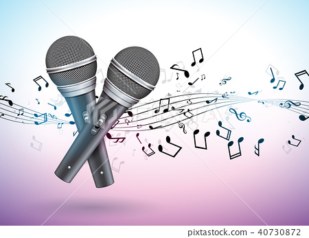 Vector Banner illustration on a Musical theme with microphones and falling notes on violet 40730872